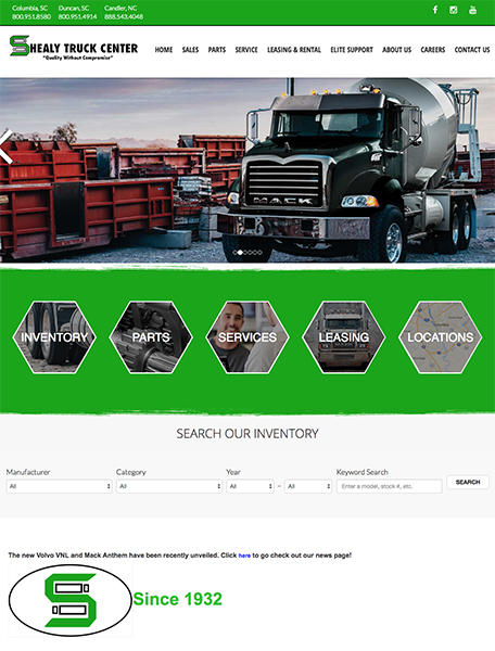 Shealy Truck Center Website Design by Commercial Web Services