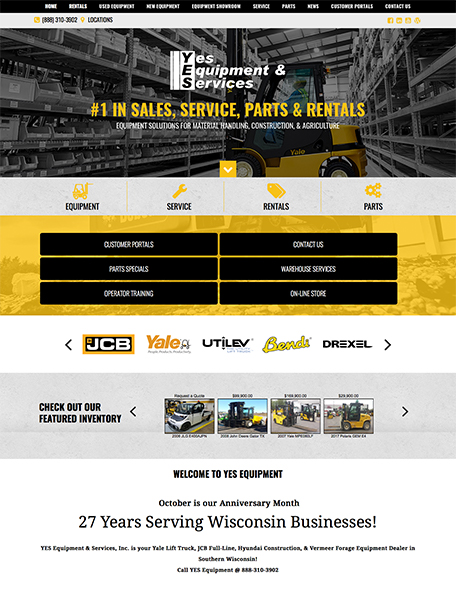 YES Equipment Website Design by Commercial Web Services