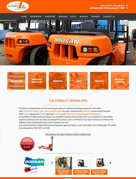 Certified Lift Specialists Website Design by Commercial Web Services
