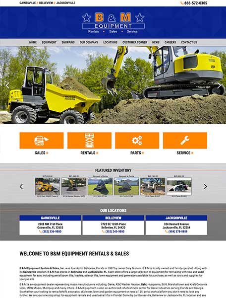 B&M Equipment Website Design by Commercial Web Services