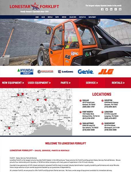 Lonestar Forklift Website Design by Commercial Web Services