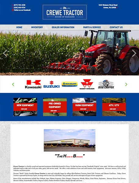 Crewe Tractor Website Design by Commercial Web Services