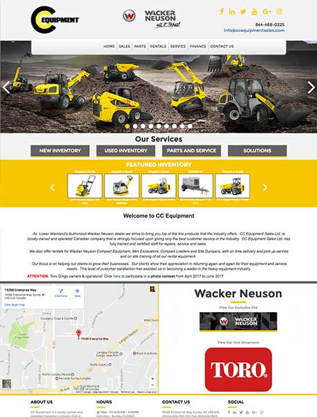 CC Equipment Website Design by Commercial Web Services