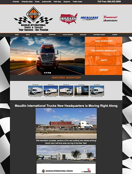 Maudlin International Trucks Website Design by Commercial Web Services