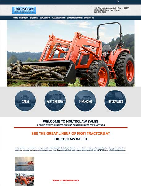 Holtsclaw Sales Website Design by Commercial Web Services
