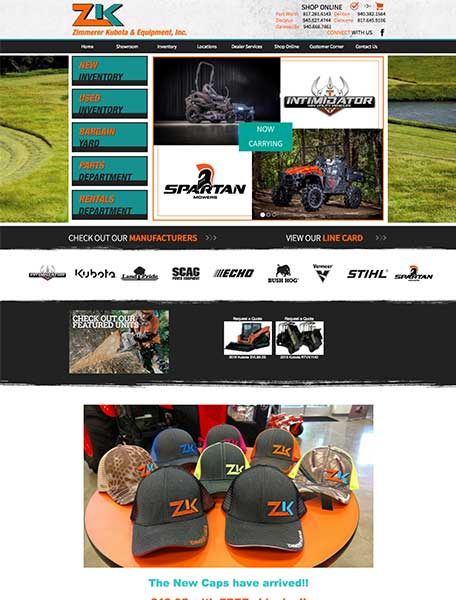 Zimmerer Kubota Website Design by Commercial Web Services