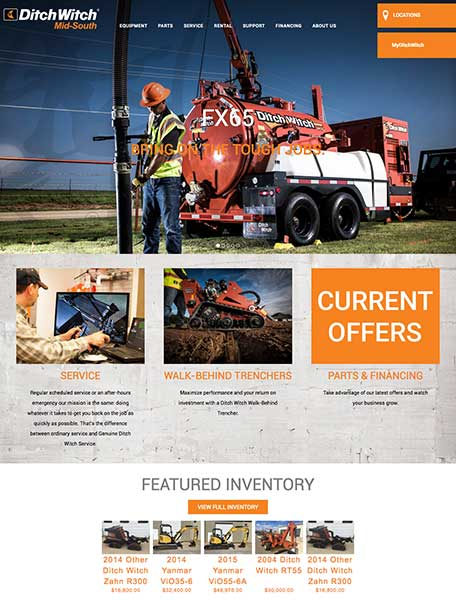 Ditch Witch Mid South Website Design by Commercial Web Services