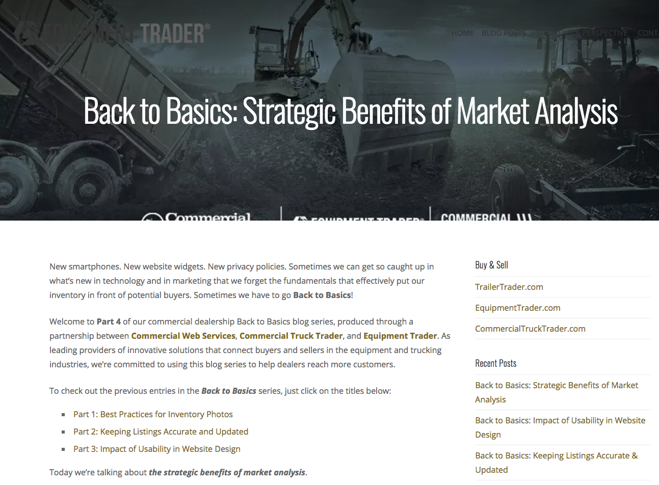 Equipment Trader Market Analysis
