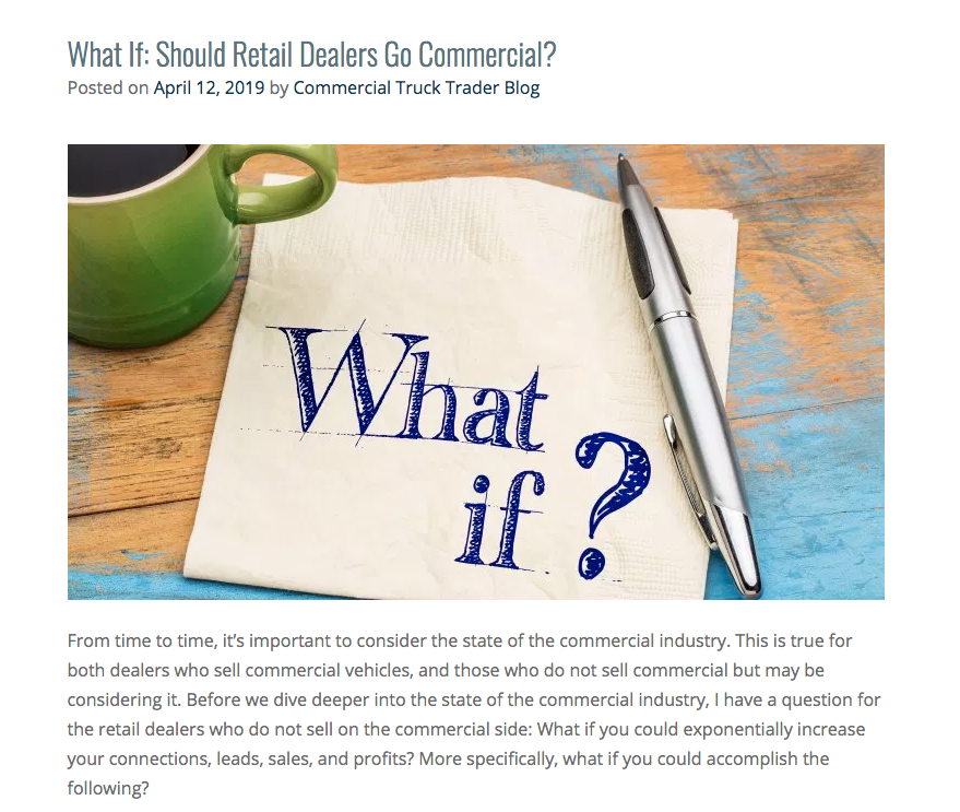 Commercial Truck Trader Feature: Should You Go Commercial?