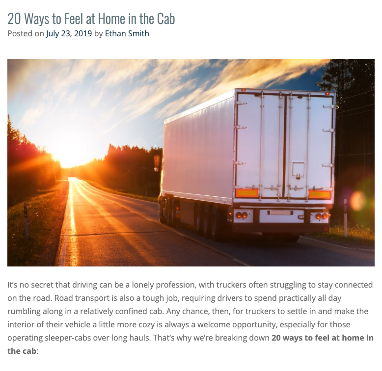 20 Ways to Feel at Home in the Cab
